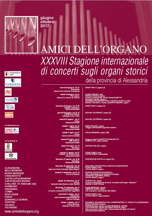 XXXVIII Stagione internazionale di concerti sugli organi storici della provincia di Alessandria