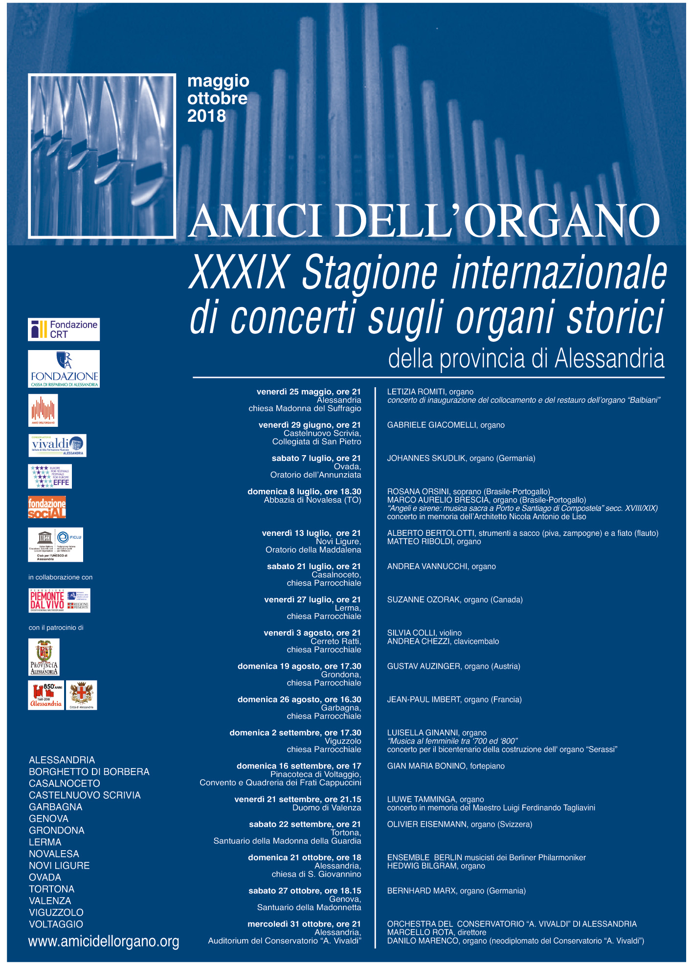 Locandina XXXIX Stagione internazionale di concerti sugli organi storici