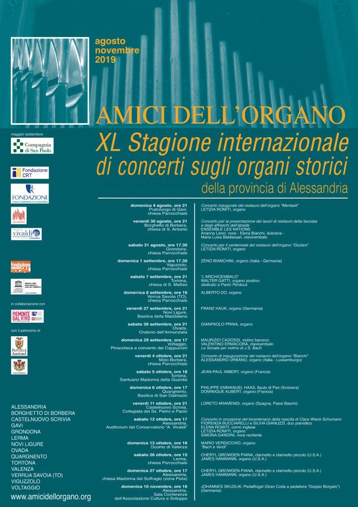 XL Stagione internazionale di concerti sugli organi storici della provincia di Alessandria